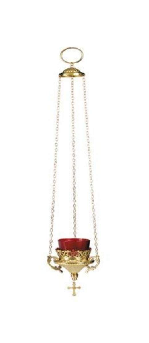 Hanging Votive Glass Candle Holder with Red Glass, 24 Inch by Autom (Image #1)