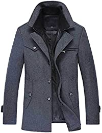 "<span class=""a-offscreen"">[Sponsored]</span>Men's Winter Stylish Wool Blend Single Breasted Military Peacoat"