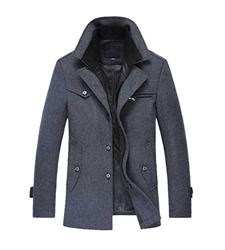 Peacoat Jacket Blazer (Qinni-shop Men's Winter Stylish Wool Blend Single Breasted Military Peacoat (Light Gray, M))
