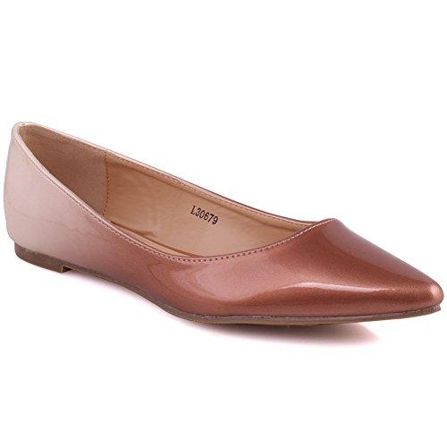Montare Ballerina Damigella Dual Formale di Color Brevetto Ivana 3 sul Unze Donne Dimensioni Le della Slittamento 8 Marrone Smart Sera UK qSCAxZn0Iw