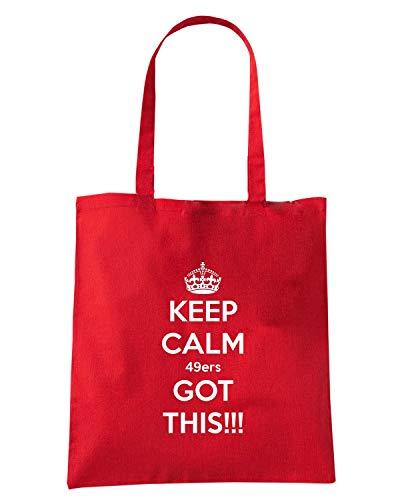 Speed Shirt Borsa Shopper Rossa TKC3931 KEEP CALM 49ERS GOT THIS