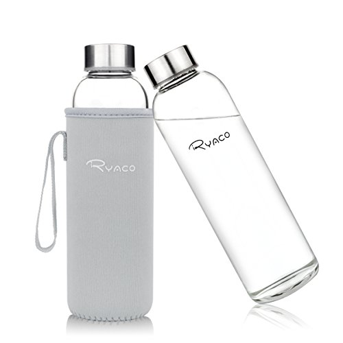Ryaco Glass Water Bottle 550ml Bottles Beverage and Juicer Use Stainless Steel Caps Stylish Top Level Quality Environmental Borosilicate Water Bottle with Colorful Protection Neoprene Carrying Sleeve (Light Grey, 550ml)