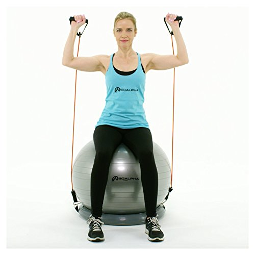 SoAlpha Premium Exercise Ball with 15LB Resistance Bands ...