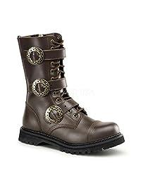 Demonia by Pleaser Men's STEAM-12 Steampunk Brown Leather Boot 5 B(M) US