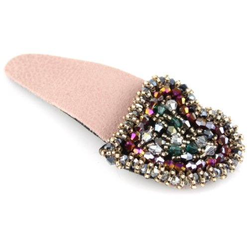 Suede Like Big Snap Clip Hair Barrette - Crystal Cut Shimmery Beaded Heart - Pink Lace Metalic Snaps