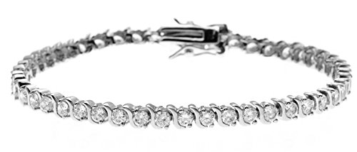 Tennis Bracelet for Women 14k White Yellow Gold Overlay Cubic Zirconia Diamond Accents (White) - 14k Gold Overlay Accent