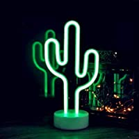 Cactus Holder Base Decor Light,LED Cactus Sign Shaped Decor Light,Marquee Signs/Wall Decor Christmas,Birthday Party,Kids Room,Living Room,Wedding Party Decor