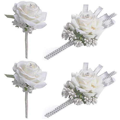 (YSBER Wedding Velvet Rose Rhinestone Corsage and Boutonniere Set Vintage Artificial Rose - 2 Sets White)