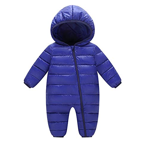Candy Stripe Gown (FEITONG Baby Boys Girls Kids Candy Color Thick Hooded Rompers Children Winter Warm Jumpsuit(18-24M,Dark Blue))