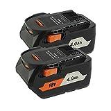 2pack 18V 4.0Ah Replacement Li-ion Battery for RIDGID 18Volt R840087 R840083 R840086 R840084 AC840085