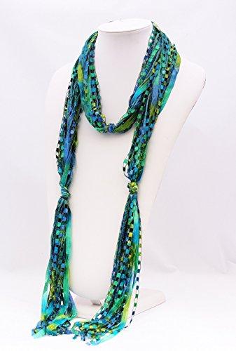 CROCHETLACES Handmade Lightweight Flowing Elements Ribbon Yarn Scarf- Seascape Mix