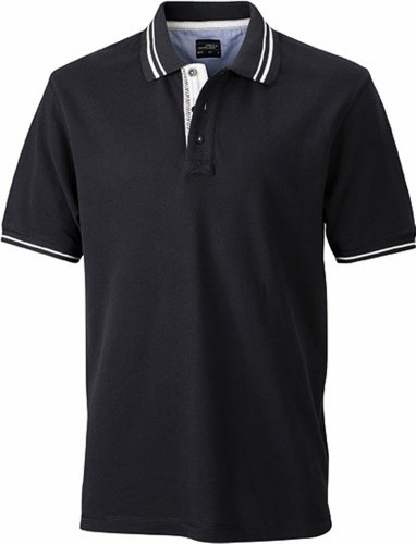 JN947 Herren Lifestyle Polohemd Poloshirt, Black , Gr. XL