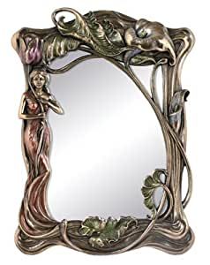 Art Nouveau Calla Lily Mirror - Cold Cast Resin - 13'' Height