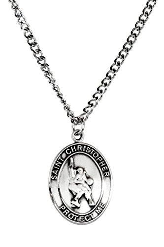 Mens Pewter Saint Christopher Sports Athlete Medal, 1 Inch - Basketball ()