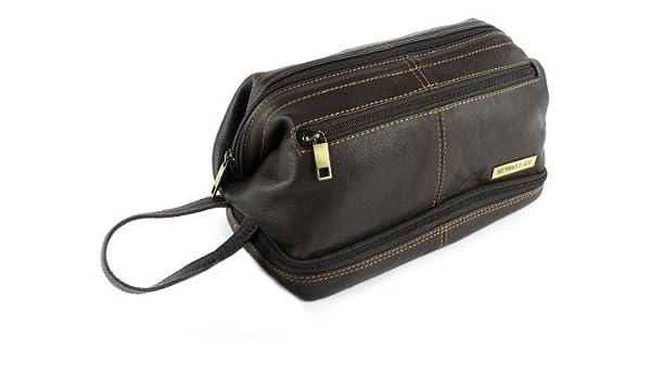 ea03399f22b7 Amazon.com   Mens Rowallan Brown Leather Top Frame Wash Bag Travel  Toiletries Travel Stylish by Rowallan of Scotland   Beauty