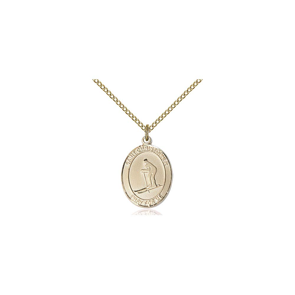 DiamondJewelryNY 14kt Gold Filled St Christopher//Skiing Pendant