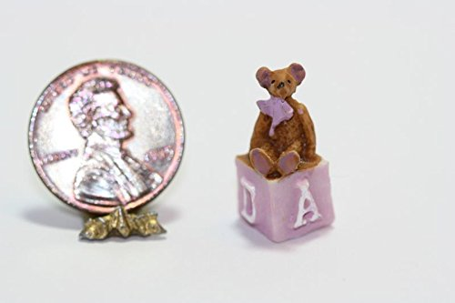 Dollhouse Miniature Resin Teddy Bear Sitting on a Lavender Pink Alphabet Childrens Block ()