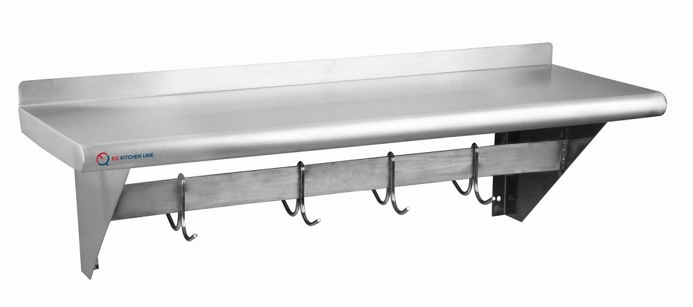 EQ Kitchen Line Heavy Duty Commercial Rack Shelf with Hooks Restaurant