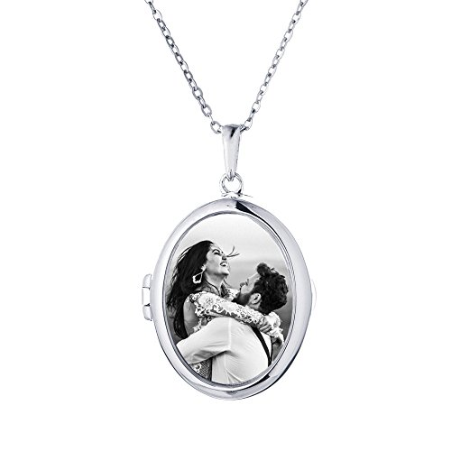 Sterling Silver-Glass-Custom Photo Locket Necklace-36-inch chain-The Ginny by With You Lockets by With You Lockets