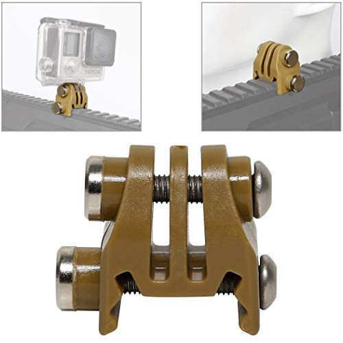 Aoutacc Picatinny Rails Airsoft Gun Rail Mounts Bracket Adapter for GoPro Action Camera (Tan)