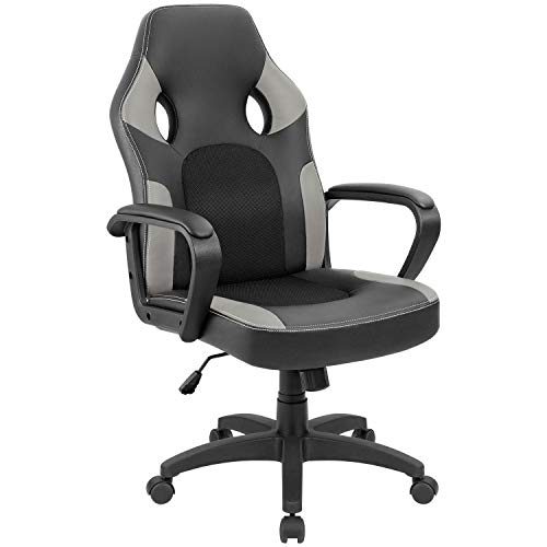 Furmax Office Chair Desk Leather Gaming Chair, High Back Ergonomic Adjustable Racing Chair,Task Swivel Executive Computer Chair Headrest and Lumbar Support Grey