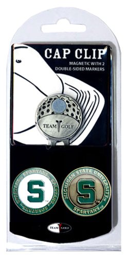 Team Golf NCAA Michigan State Spartans Golf Cap Clip with 2 Removable Double-Sided Enamel Magnetic Ball Markers, Attaches Easily to ()