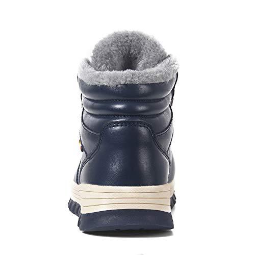 Senderismo De Piel Encaje Botas Hombre Acogedora Para Impermeables Cálidas Totalmente Nieve Azul Forradas Caminar Antideslizantes Invierno 1YfOfd7q