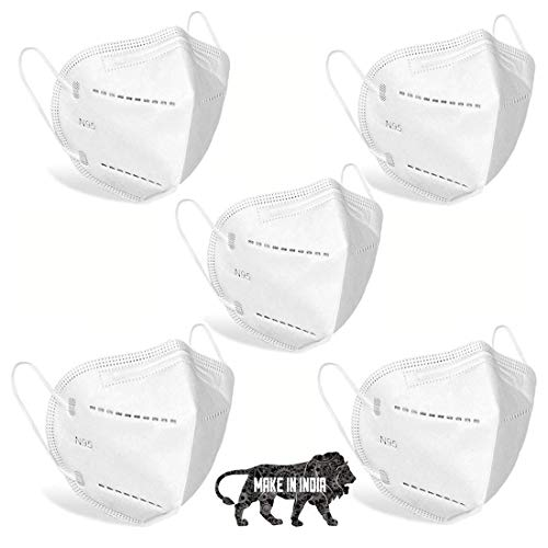 DR VAKU® N95 Anti-Dust Breathable Protective Non-woven Fabric Face Mask with 5- Layer Filter for Men and Women (Pack of…