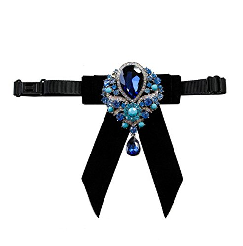 Cloud Rack Bow Tie Set Auger Velvet Blue Diamond Pendant Black