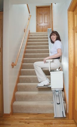 Free Lifetime Warranty! Wide Seat Stair Lift With a 350 lb Capacity, Up to 19 Feet of Travel