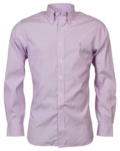 Polo Ralph Lauren Men's Easy Care Slim Fit Fit Dress Shirt - Purple/Wht - 16.5 34/35