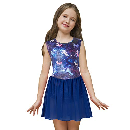 Sylfairy Leotards for Girls Gymnastics, Wrap Skirted Leotard for Girls Ballet Rainbow Unicorn Sparkly Toddler Ballet Athletic Tutu Dress Girls' Dance Leotards ()