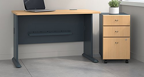 Bush Business Furniture Series A 48W Desk with Mobile File Cabinet in Beech and ()