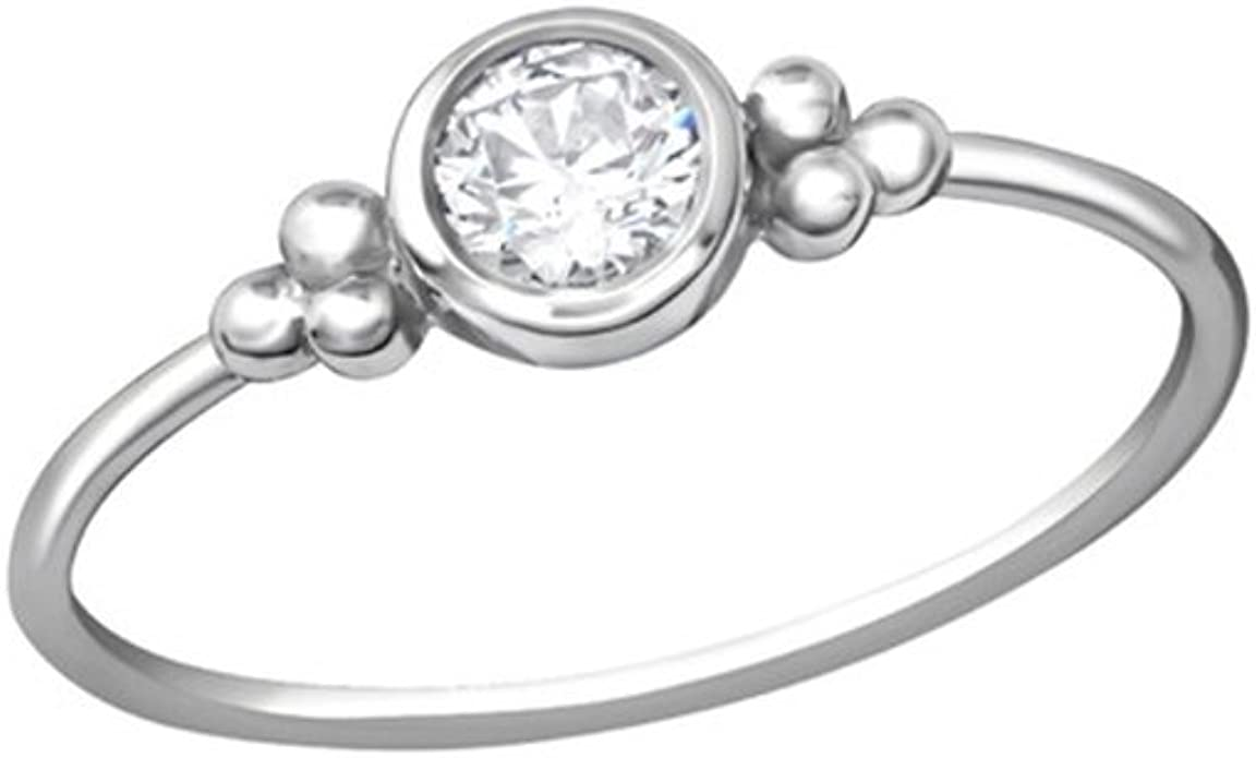 Polished and Nickel Free Liara Round Jeweled Rings 925 Sterling Silver