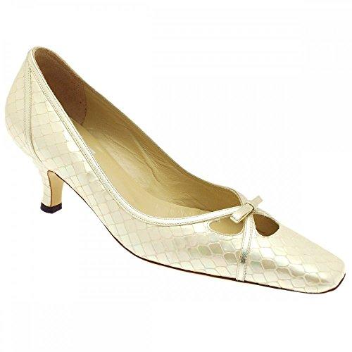 Renata Women's Low Heel Court Shoe Beige Patent urb72x7xDw