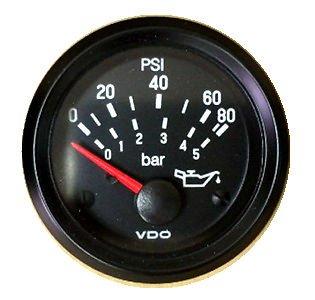 (VDO Gauge Oil Pressure 80 psi, Genuine Cockpit 350-934, 2-1/16