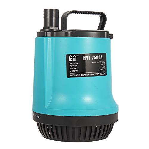 SUNSUN 7500L/H Submersible Water Pump Garden Swimming Pool Dirty Pond Flood Drain 150W ()