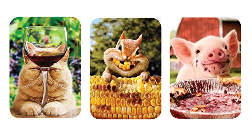 Just For Laughs Pocket Puzzles - Avanti Mini Jigsaw Puzzle - 3-Pack - Wine Cat, Corn Chipmunk, Pie -