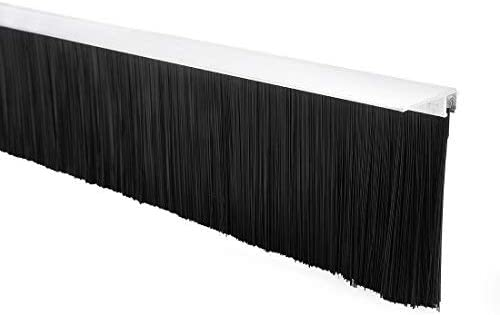 - Bottom door sweep F-shaped aluminum alloy base with 3.2 inch black nylon brush 39 inches x 3.54 inches