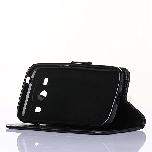 COOLKE Retro Mariposas Patrón PU Leather Wallet With Card Pouch Stand de protección Funda Carcasa Cuero Tapa Case Cover para Samsung Galaxy Ace Style LTE G357 - café marrón Negro