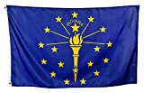 Shop72 US State Flags - Indiana - 3x5' Flag From Sturdy 100D Polyester - Canvas Header Brass Grommets Double Stitched From Wind Side