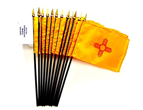 MADE IN USA!! Box of 12 New Mexico 4''x6'' Miniature Desk & Table Flags; 12 American Made Small Mini New Mexico State Flags in a Custom Made Cardboard Box Specifically Made for These Flags by World Flags Direct