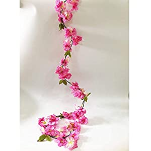 Artfen Artificial Cherry Blossom Hanging Vine Plants Faux Garland Fake Wreath Artificial Flower Home Hotel Office Wedding Party Garden Craft Art Decor 5.8 FT 5
