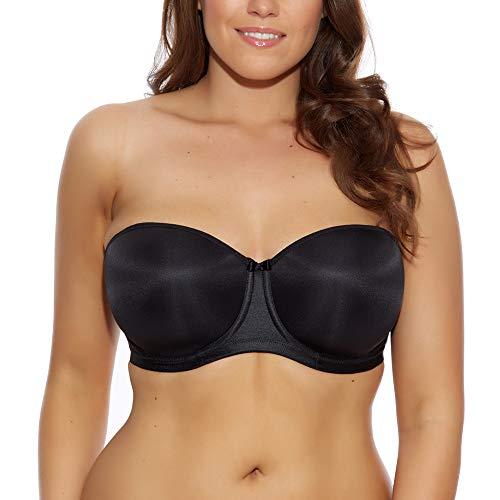 Elomi Women's Plus-Size Smoothing Underwire Foam Molded Strapless Bra Underwear, Black, 46E