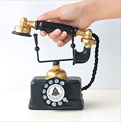 7.48x6.3x3.94 HoneyCare Large Creative Retro Decorative Phone Model Vintage Rotary Telephone Decor Statue Artist Antique Phone Figurine Cafe bar Window Decor Model for Home Desk Decoration