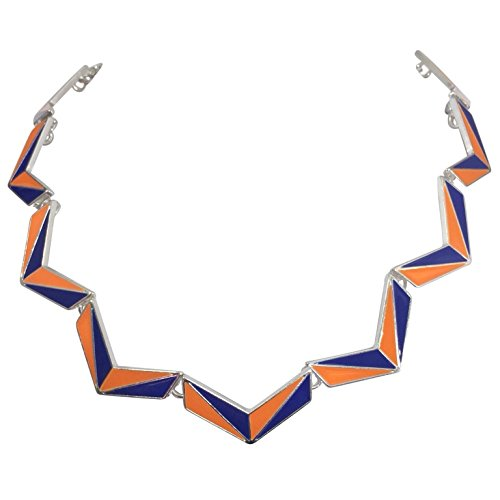 - Gypsy Jewels Color Block Chevron Simple Silver Tone Necklace (Orange & Blue)