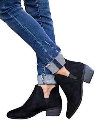 3e5a13a045ae Pretifeel Womens V Cut Ankle Booties Stacked Low Block Heel Chelsea Boots  Pointed Toe