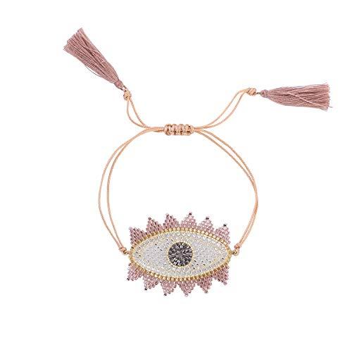 Seed Bead Triangle - Nicole Jewelry Miyuki Seed Beads Handmade Big Evil Eye Strand Bracelet (Gold)