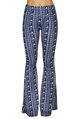 Daisy Del Sol High Waist Gypsy Comfy Yoga Ethnic Tribal Stretch 70s Bell Bottom Flare Pants (Large, Navy White Floral) -