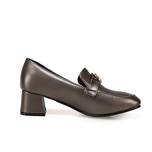 AllhqFashion Damen Blend-Materialien Ziehen auf Rund Zehe Mittler Absatz Rein Pumps Schuhe Metallisch